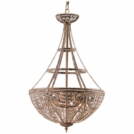 5965/4 ELK Lighting Elizabethan 4-Light Pendant in Dark Bronze with 32% Lead Crystal