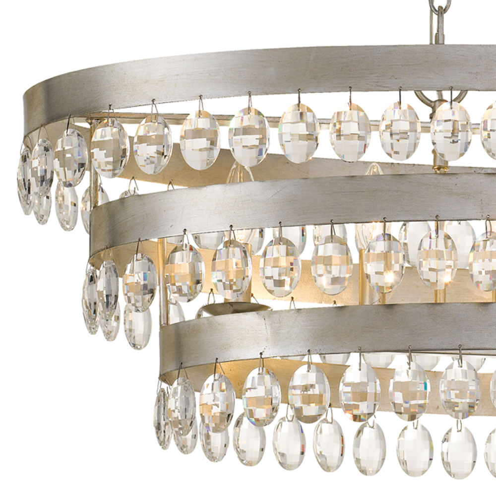 6107 Sa Crystorama Perla 6 Light Antique Silver Linear Chandelier