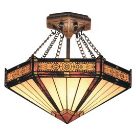 621-AB ELK Lighting Filigree 3-Light Semi Flush in Aged Bronze with Tiffany Style Glass