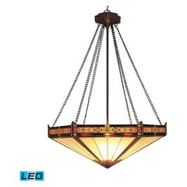 622-AB-LED ELK Lighting Filigree 3-Light Pendant in Aged Bronze with Tiffany Style Glass - Includes LED Bulbs