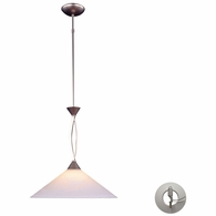 6500/1-LA ELK Lighting Elysburg 1-Light Pendant in Satin Nickel with White Swirl Glass - Includes Adapter Kit