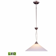 6500/1-LED ELK Lighting Elysburg 1-Light Pendant in Satin Nickel with White Swirl Glass - Includes LED Bulb