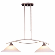 6501/2 ELK Lighting Elysburg 2-Light Island Light in Satin Nickel with White Swirl Glass