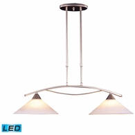6501/2-LED ELK Lighting Elysburg 2-Light Island Light in Satin Nickel with White Swirl Glass - Includes LED Bulbs