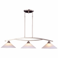 6502/3 ELK Lighting Elysburg 3-Light Island Light in Satin Nickel with White Swirl Glass