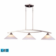6502/3-LED ELK Lighting Elysburg 3-Light Island Light in Satin Nickel with White Swirl Glass - Includes LED Bulbs