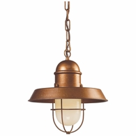 65049-1 ELK Lighting Farmhouse 1-Light Mini Pendant in Bellwether Copper with Matching Shade