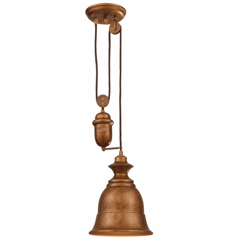 65060-1 ELK Lighting Farmhouse 1-Light Adjustable Pendant in Bellwether Copper with Matching Shade