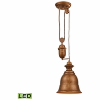 65060-1-LED ELK Lighting Farmhouse 1-Light Adjustable Pendant in Bellwether Copper with Matching Shade - Includes LED Bulb