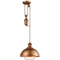 65061-1 ELK Lighting Farmhouse 1-Light Adjustable Pendant in Bellwether Copper with Matching Shade