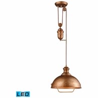 65061-1-LED ELK Lighting Farmhouse 1-Light Adjustable Pendant in Bellwether Copper with Matching Shade - Includes LED Bulb