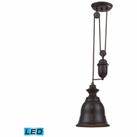 65070-1-LED ELK Lighting Farmhouse 1-Light Adjustable Pendant in Oiled Bronze with Matching Shade - Includes LED Bulb