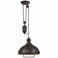 65071-1 ELK Lighting Farmhouse 1-Light Adjustable Pendant in Oiled Bronze with Matching Shade