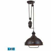 65071-1-LED ELK Lighting Farmhouse 1-Light Adjustable Pendant in Oiled Bronze with Matching Shade - Includes LED Bulb