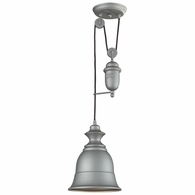 65080-1 ELK Lighting Farmhouse 1-Light Adjustable Pendant in Aged Pewter with Matching Shade