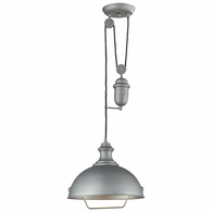 65081-1 ELK Lighting Farmhouse 1-Light Adjustable Pendant in Aged Pewter with Matching Shade