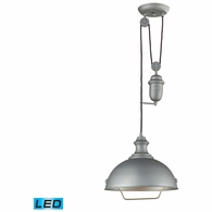 65081-1-LED ELK Lighting Farmhouse 1-Light Adjustable Pendant in Aged Pewter with Matching Shade - Includes LED Bulb
