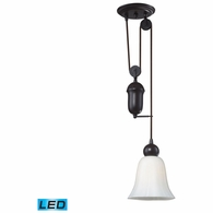 65090-1-LED ELK Lighting Farmhouse 1-Light Adjustable Pendant in Oiled Bronze with White Glass - Includes LED Bulb