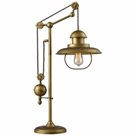 65100-1 ELK Lighting Farmhouse Adjustable Table Lamp in Antique Brass (D2252)