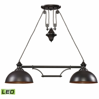 65150-2-LED ELK Lighting Farmhouse 2-Light Island Light in Oiled Bronze with Matching Shade - Includes LED Bulbs