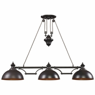 65151-3 ELK Lighting Farmhouse 3-Light Island Light in Oiled Bronze with Matching Shade