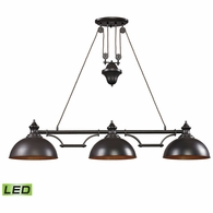 65151-3-LED ELK Lighting Farmhouse 3-Light Island Light in Oiled Bronze with Matching Shade - Includes LED Bulbs
