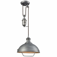 65161-1 ELK Lighting Farmhouse 1-Light Adjustable Pendant in Weathered Zinc with Matching Shade