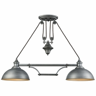65162-2 ELK Lighting Farmhouse 2-Light Adjustable Island Light in Weathered Zinc with Matching Shade