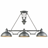 65163-3 ELK Lighting Farmhouse 3-Light Adjustable Island Light in Weathered Zinc with Matching Shade