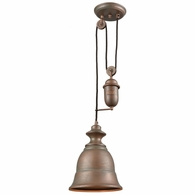 65270-1 ELK Lighting Farmhouse 1-Light Adjustable Pendant in Tarnished Brass with Matching Shade