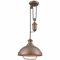 65271-1 ELK Lighting Farmhouse 1-Light Adjustable Pendant in Tarnished Brass with Matching Shade