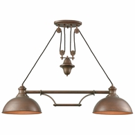 65272-2 ELK Lighting Farmhouse 2-Light Adjustable Island Light in Tarnished Brass with Matching Shade