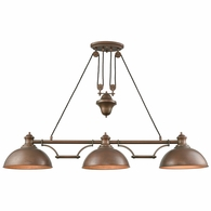 65273-3 ELK Lighting Farmhouse 3-Light Adjustable Island Light in Tarnished Brass with Matching Shade