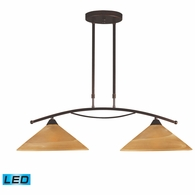 6551/2-LED ELK Lighting Elysburg 2-Light Island Light in Aged Bronze with Tea Swirl Glass - Includes LED Bulbs