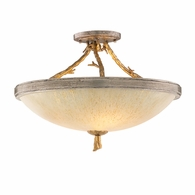 66-33 Corbett Parc Royale 3Lt Semi Flush with Gold And Silver Leaf Finish