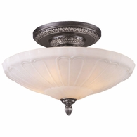 66093-4 ELK Lighting Restoration 4-Light Semi Flush in Dark Silver with White Antique Glass
