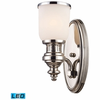 66110-1-LED ELK Lighting Chadwick 1-Light Wall Lamp in Polished Nickel with White Glass - Includes LED Bulb