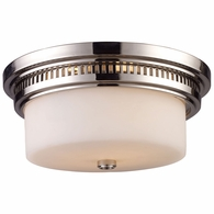 66111-2 ELK Lighting Chadwick 2-Light Flush Mount in Polished Nickel with White Glass