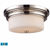 66111-2-LED ELK Lighting Chadwick 2-Light Flush Mount in Polished Nickel with White Glass - Includes LED Bulbs