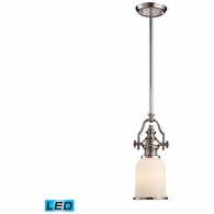 66112-1-LED ELK Lighting Chadwick 1-Light Mini Pendant in Polished Nickel with White Glass - Includes LED Bulb