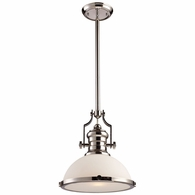 66113-1 ELK Lighting Chadwick 1-Light Pendant in Polished Nickel with White Glass