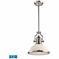66113-1-LED ELK Lighting Chadwick 1-Light Pendant in Polished Nickel with White Glass - Includes LED Bulb