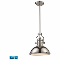 66114-1-LED ELK Lighting Chadwick 1-Light Pendant in Polished Nickel with Matching Shade - Includes LED Bulb