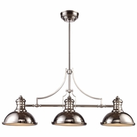 66115-3 ELK Lighting Chadwick 3-Light Island Light in Polished Nickel with Matching Shades
