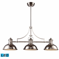 66115-3-LED ELK Lighting Chadwick 3-Light Island Light in Polished Nickel with Matching Shades - Includes LED Bulbs