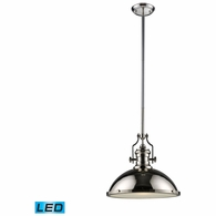 66118-1-LED ELK Lighting Chadwick 1-Light Pendant in Polished Nickel with Matching Shades - Includes LED Bulb
