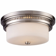 66121-2 ELK Lighting Chadwick 2-Light Flush Mount in Satin Nickel with White Glass