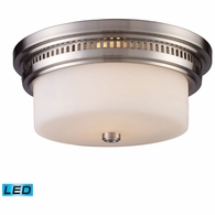 66121-2-LED ELK Lighting Chadwick 2-Light Flush Mount in Satin Nickel with White Glass - Includes LED Bulbs