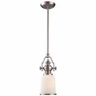 66122-1 ELK Lighting Chadwick 1-Light Mini Pendant in Satin Nickel with White Glass