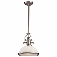 66123-1 ELK Lighting Chadwick 1-Light Pendant in Satin Nickel with White Glass
